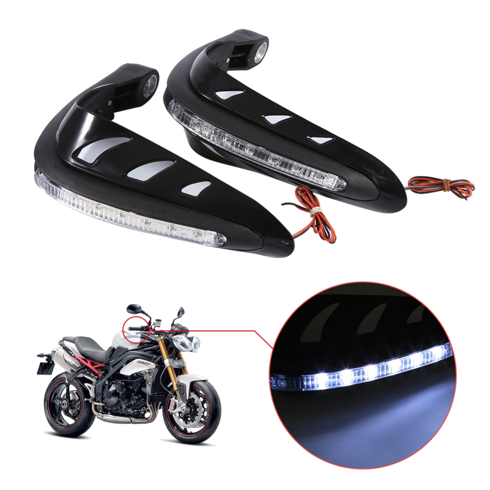 1 pair universal motorcycle handguards motocross hand guards one set combination handlebar protector with led turn