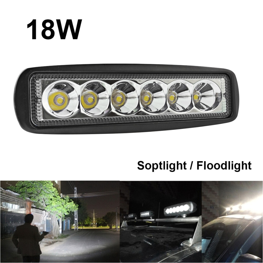 1550lm mini 6 inch 18w 12v led work light bar off road car worklight driving lamp for auto offroad boating hunting fishing in light bar work light from