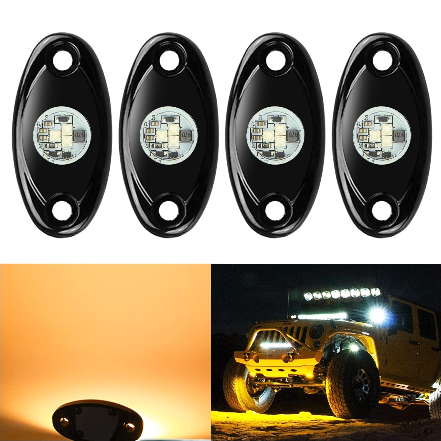 Dirt Bike Led Light Bar Amazon Com 4 Pods Led Rock Lights Kit Ampper Waterproof Underglow