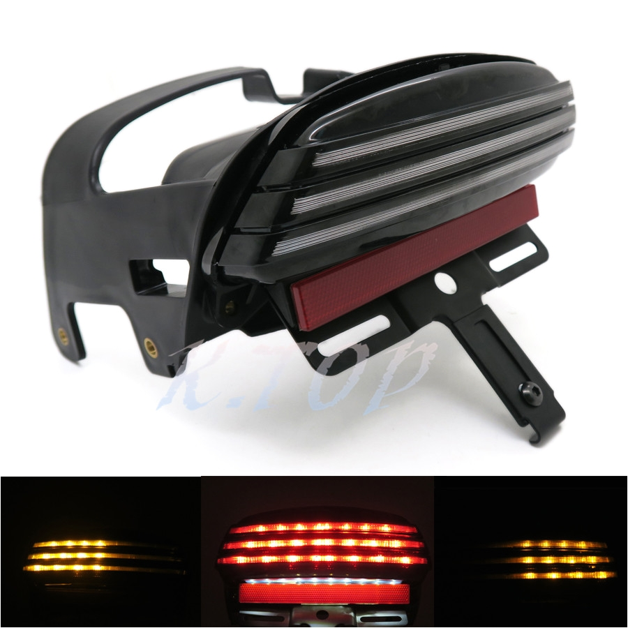 black tri bar led fender turn signal tail light license plate bracket for 08