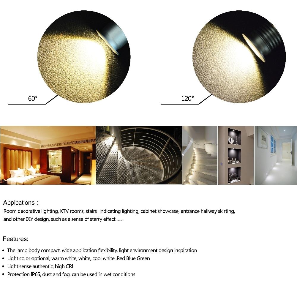 1w mini led spotlight 25mm cutting cabinet down light 60d 120d dc12v small downlight diy spot light 6pcs 2018 new product in led spotlights from lights