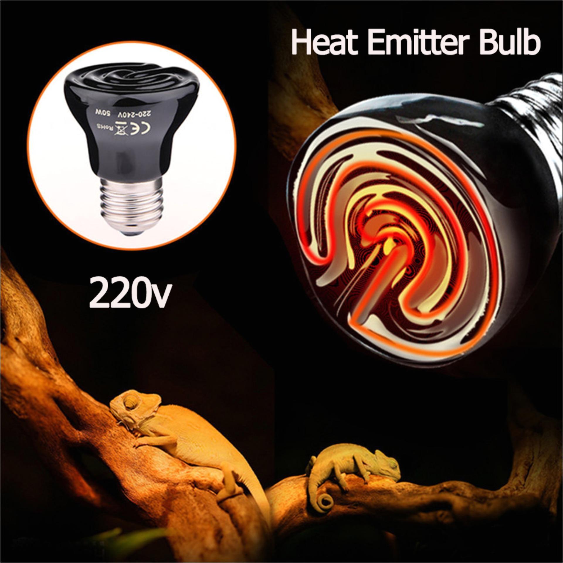 infrared ceramic heat emitter bulb pet brooder heater lamp for reptile 50w220v black