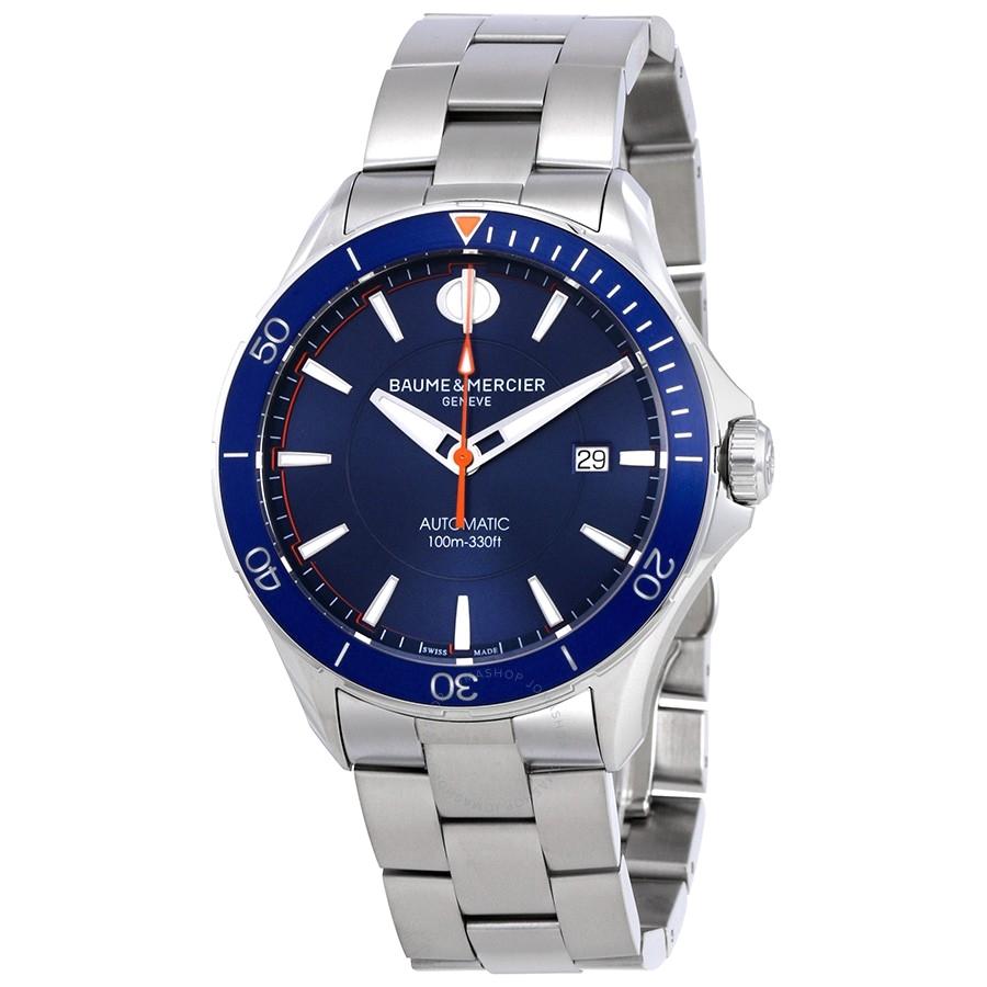baume et mercier clifton blue dial automatic men s watch moa10378