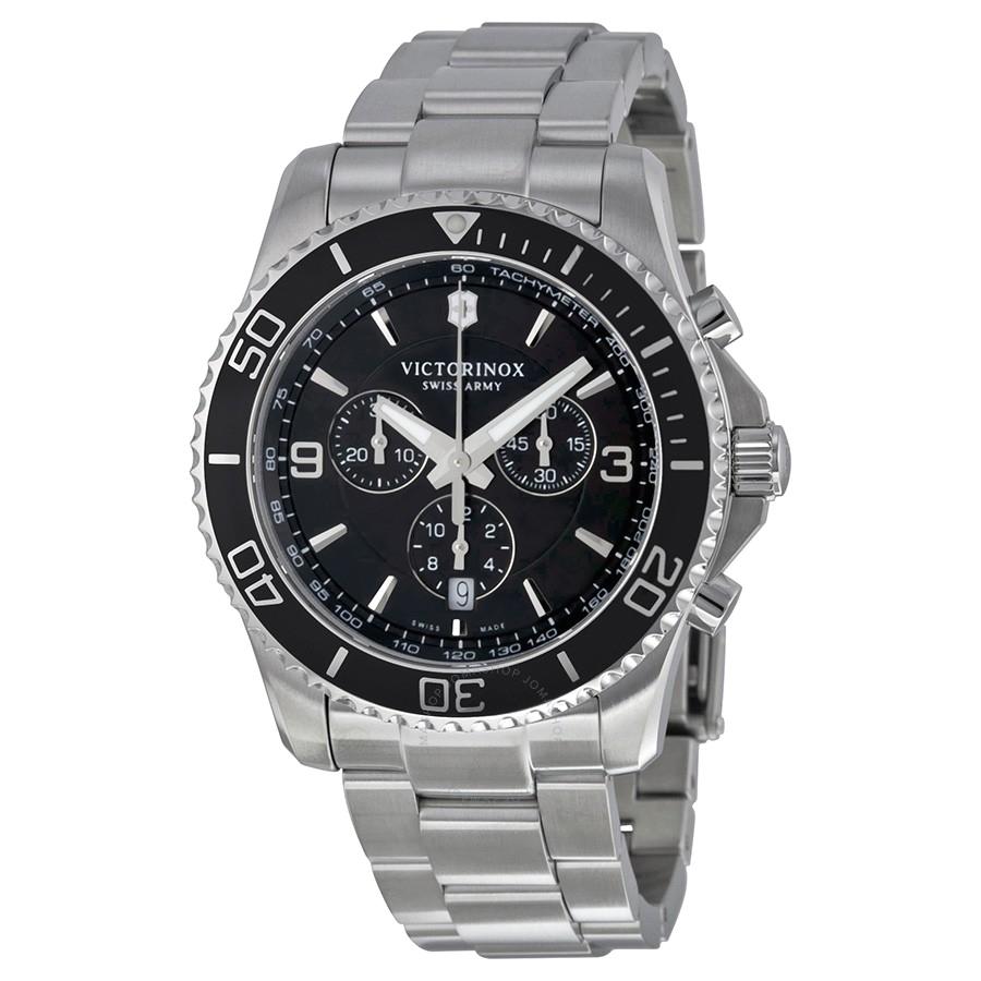 victorinox swiss army maverick chronograph black dial stainless steel mens watch 241695