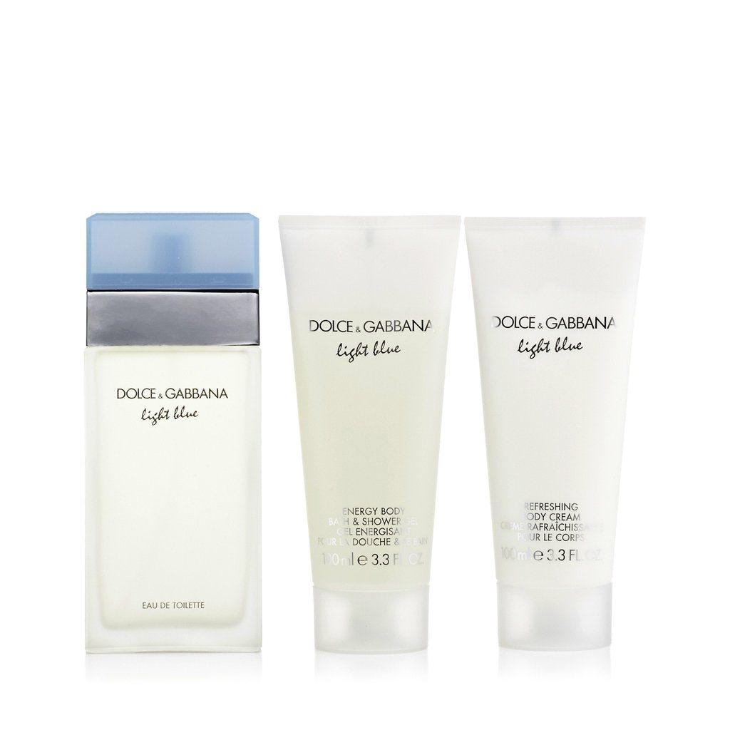 light blue gift set eau de toilette body cream and shower gel for women by dg