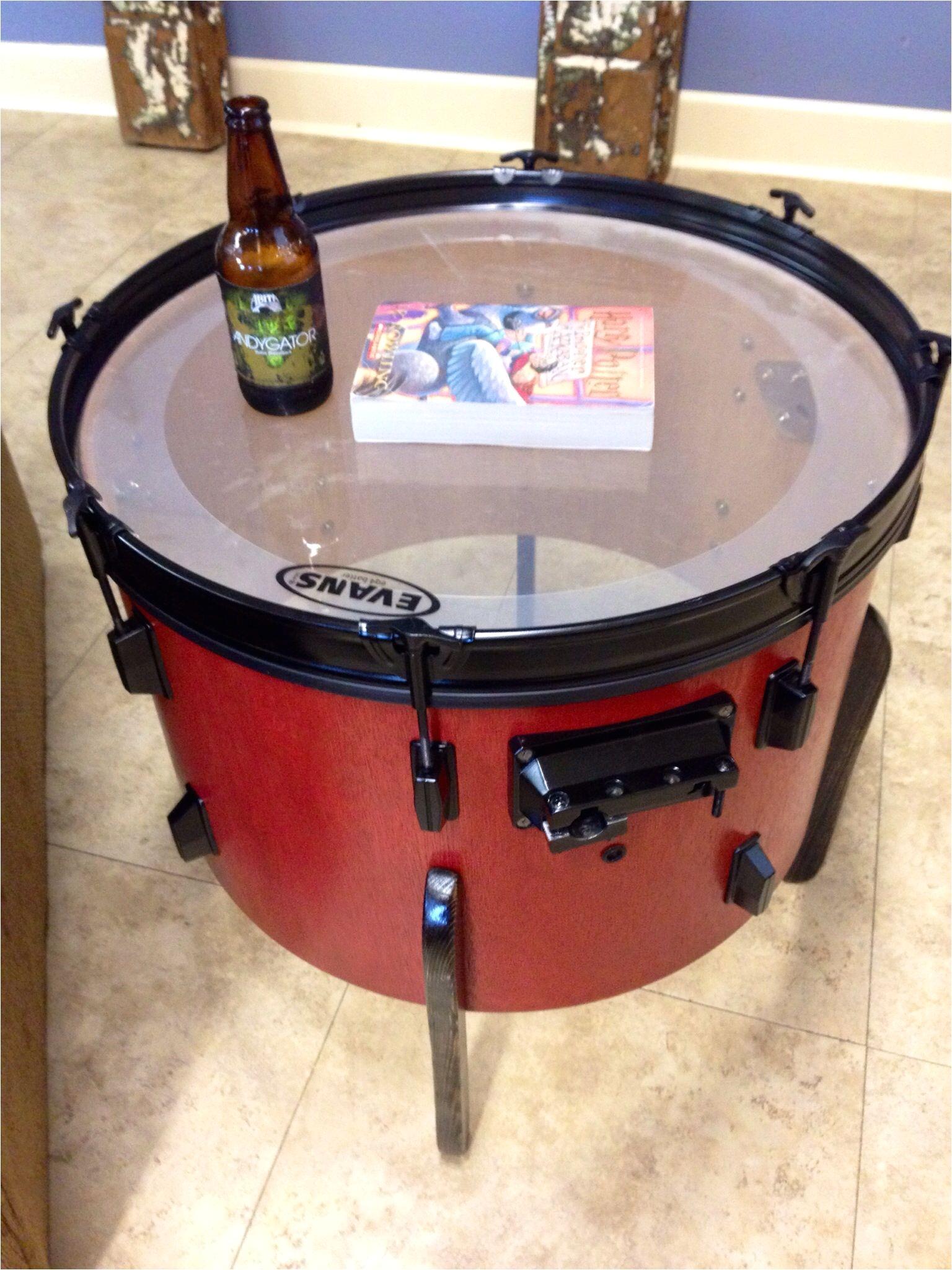 old junk drum repurposed as end table