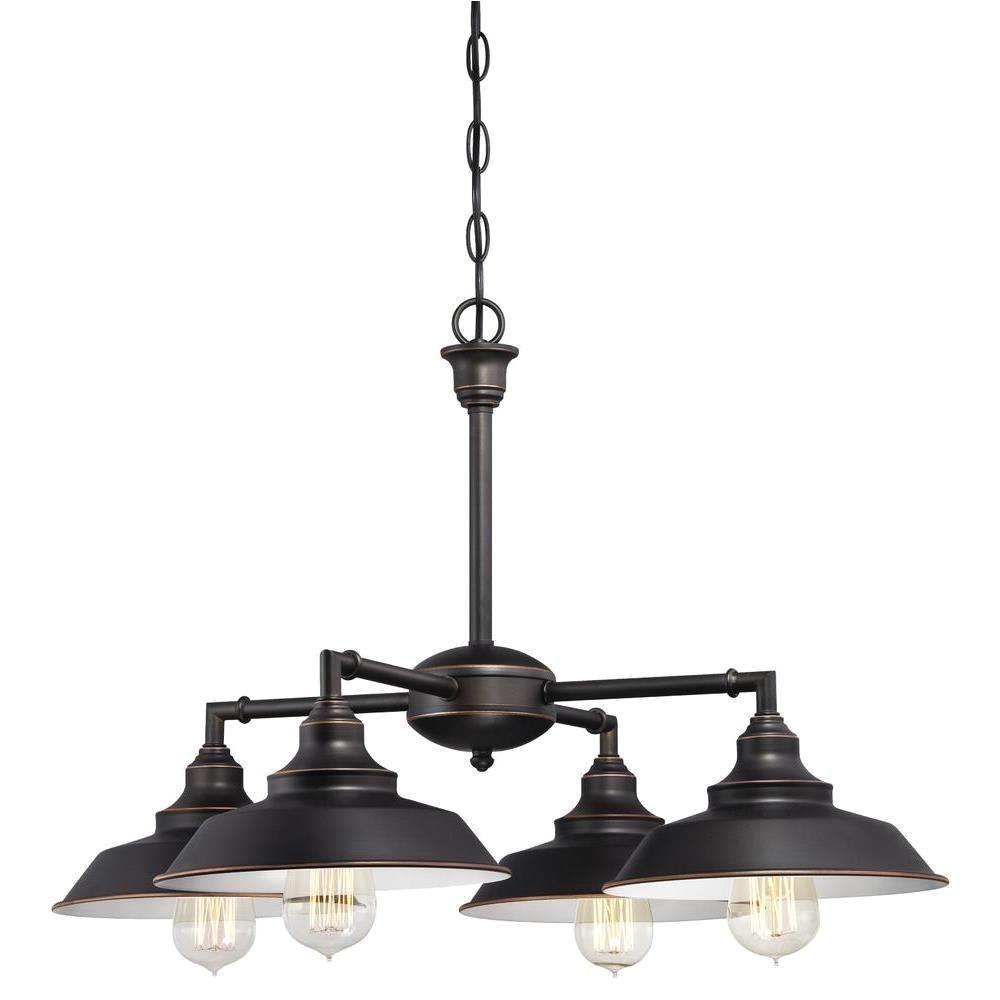westinghouse iron hill 4 light oil rubbed bronze convertible chandelier semi flush mount