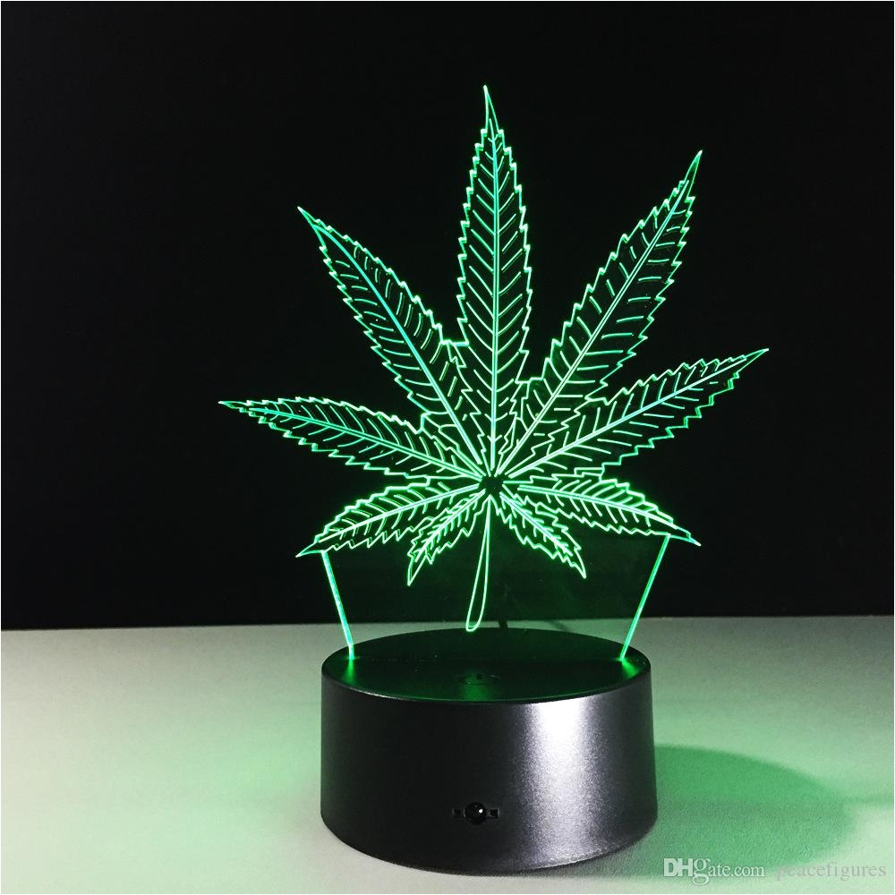 maple leaves 3d visual illusion lamp transparent acrylic night light led fairy lampa color changing touch