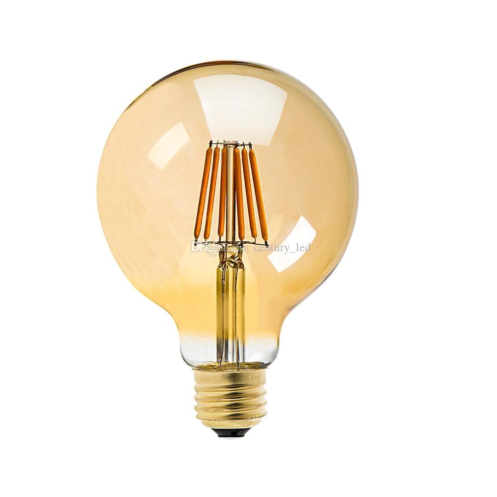 vintage led filament light bulb8w golden tint edison g125 globe style supper warm decorative household lampdimmable led g9 bulb candelabra led bulb from