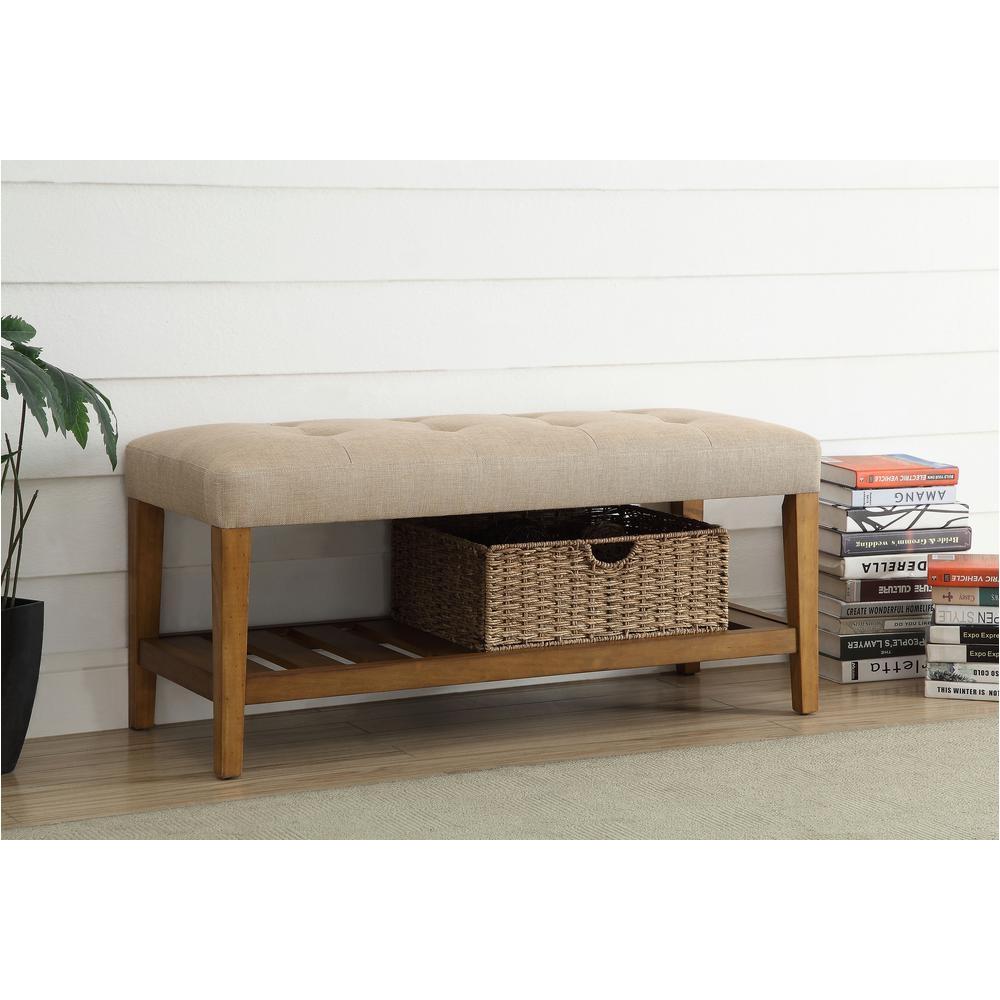 acme furniture charla beige and oak storage bench