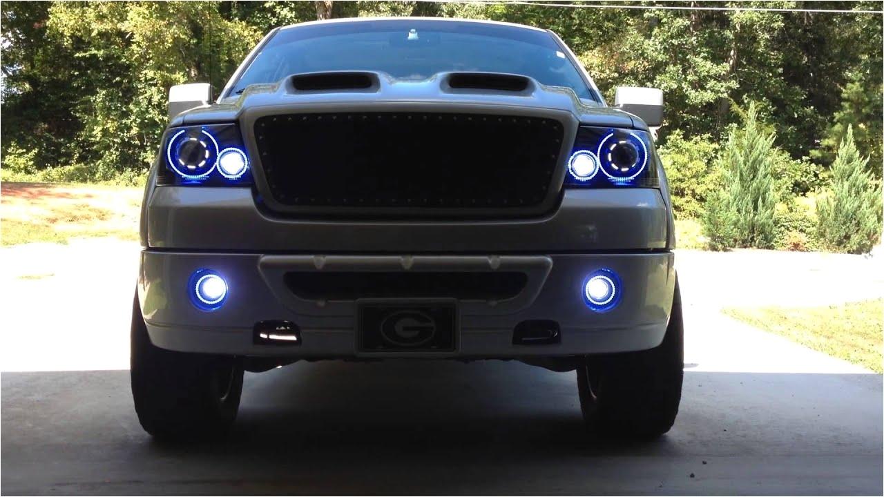 04 08 f150 headlight fog light retrofit i did with rgb colormorph halos fogs have led projectors youtube