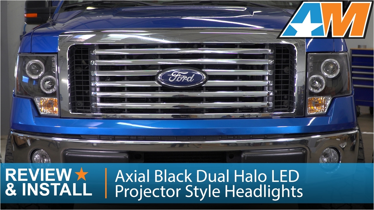 2009 2014 ford f 150 axial black dual halo led projector style headlights review install youtube