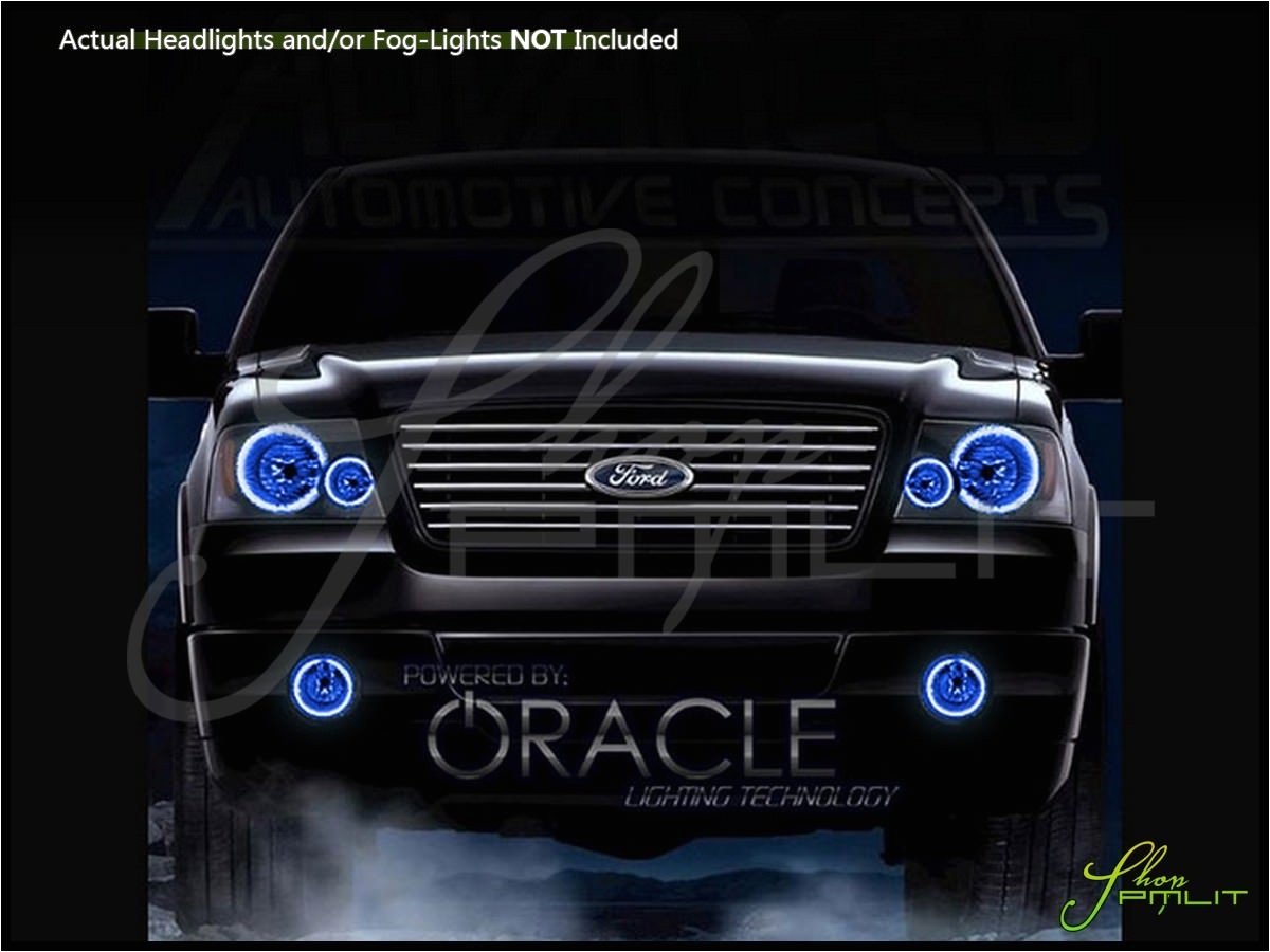 auto lights accessories car led lighting custom bulbs parts shoppmlit oracle 04 08 ford f150 blue headlight angel eyes demon halo rings drl headlamp kit