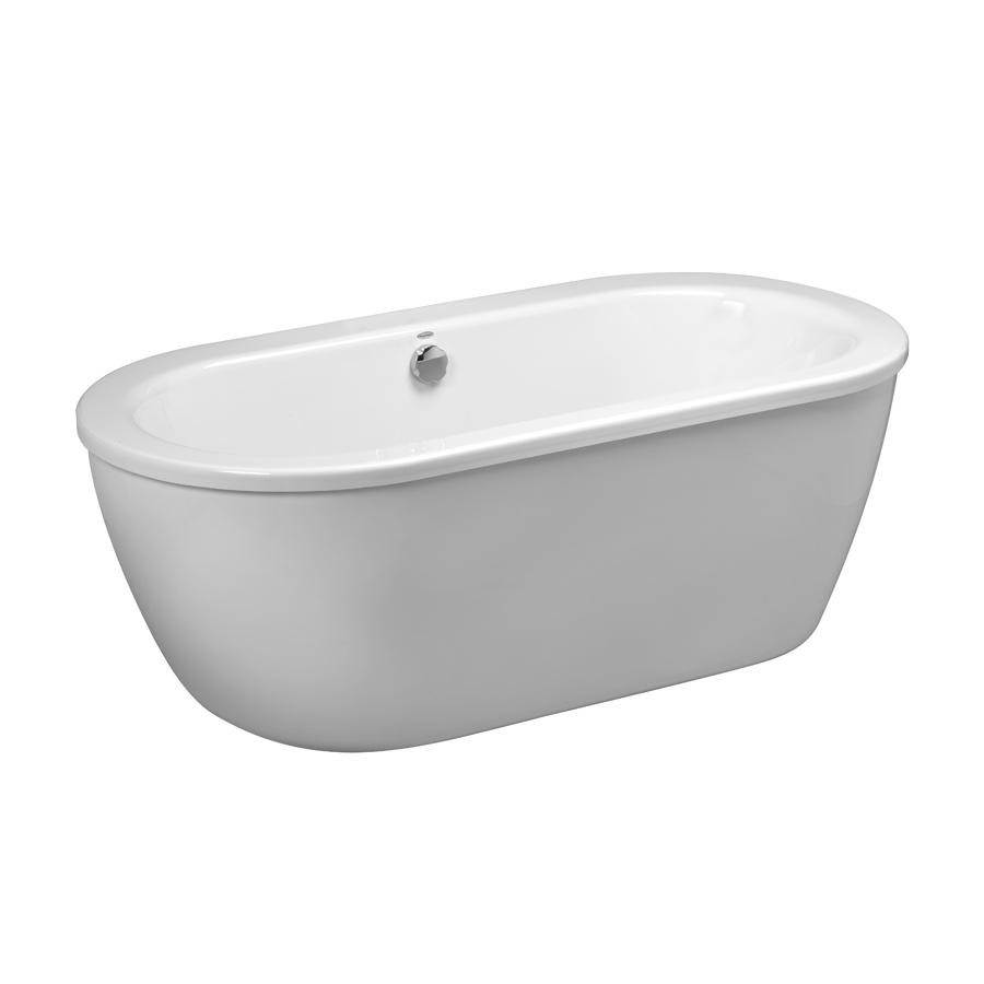 american standard clean 64 625 in white acrylic oval center drain freestanding bathtub