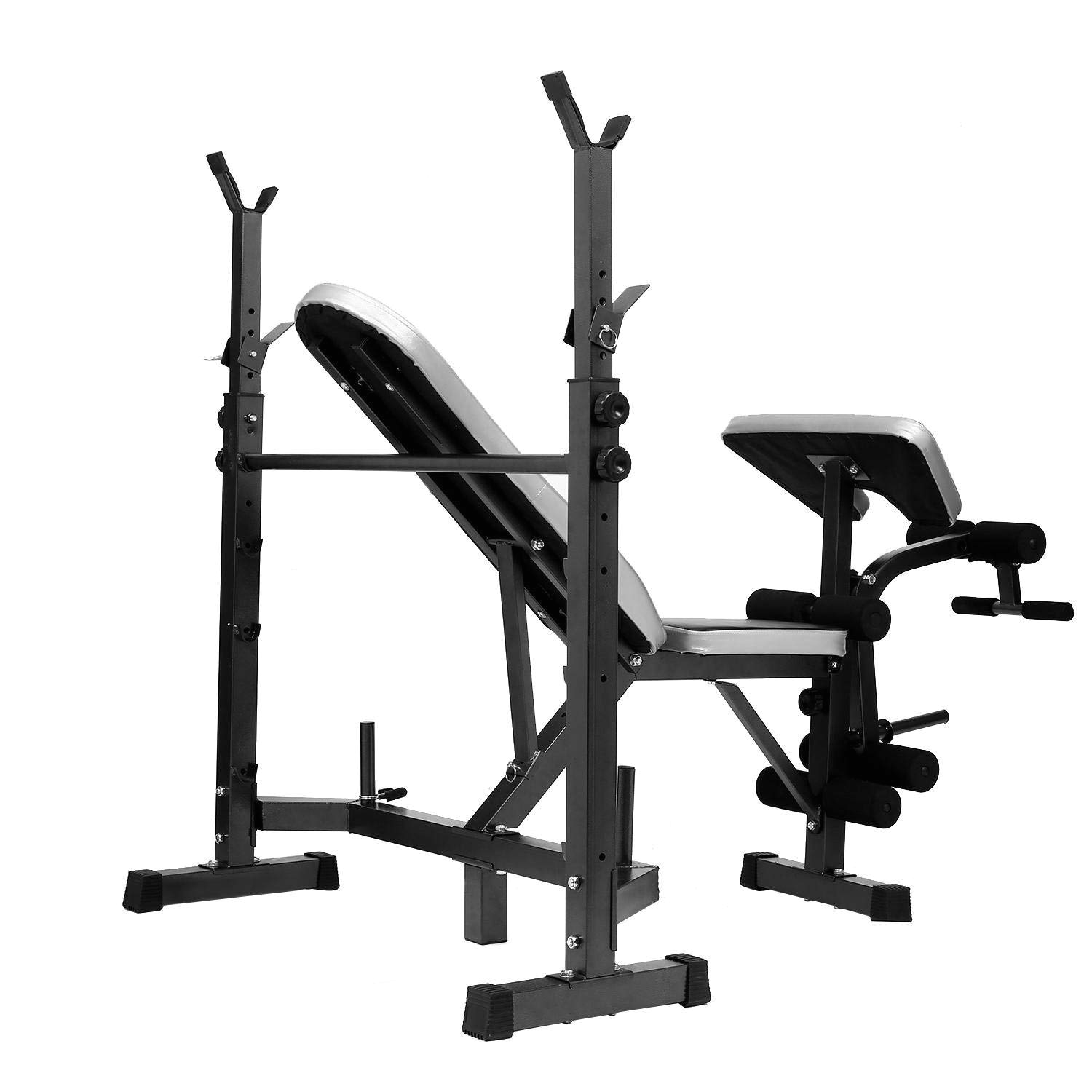 amazon com multi function olympic workout bench w adjustable squat rack robust frame bench features leg developer curl yoke preacher pad weight