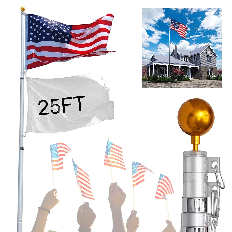 amazon com koval inc 25 ft aluminum telescoping flagpole kit with us flag 25ft telescopic flag pole office products