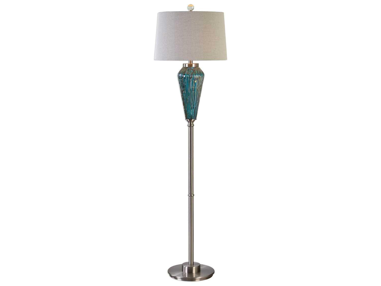 uttermost david frisch almanzora blue glass floor lamp