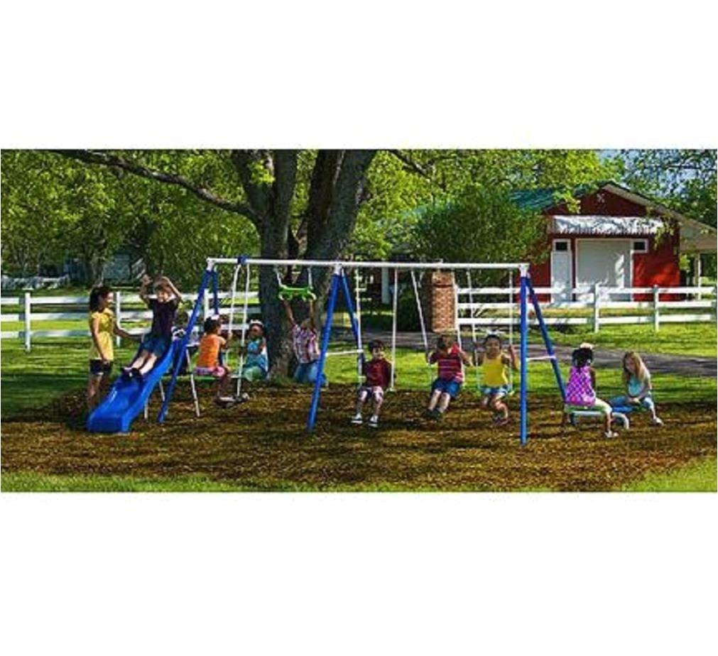 amazon com flexible flyer fantastic playground metal swing set everything else