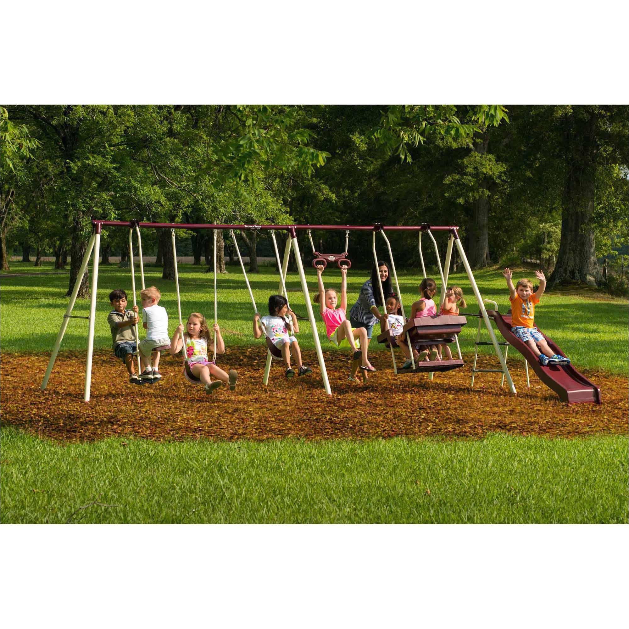 Flexible Flyer Backyard Swingin Fun Metal Swing Set Flexible Flyer Play Park Metal Swing Set Walmart Com