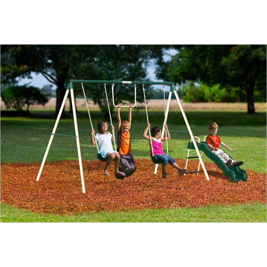 flexible flyer outside fun ii metal swing set walmart com