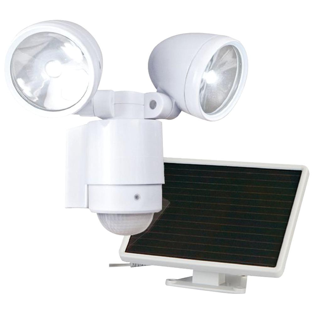 maxsa innovations bright dual head solar security light white