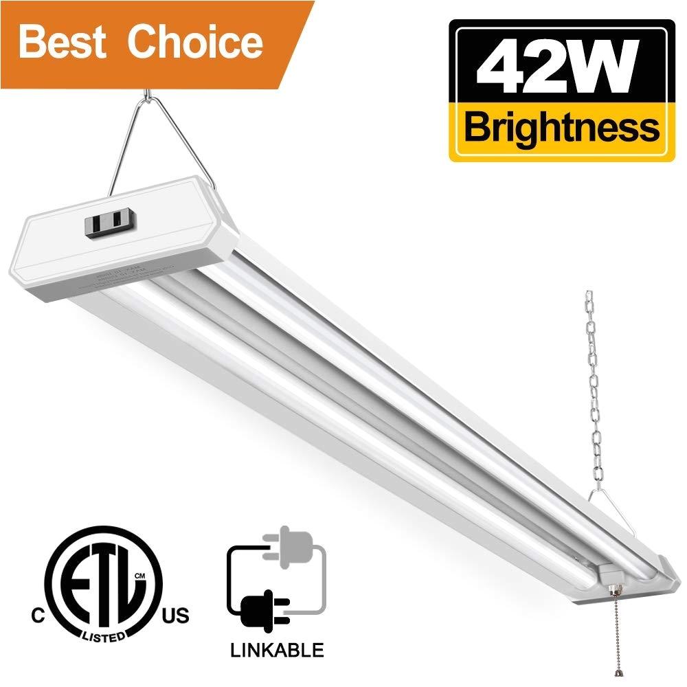 42w linkable led shop light for garage bbounder 4ft 5000k daylight super bright garage light surface and hanging mounting for warehouse basement garage