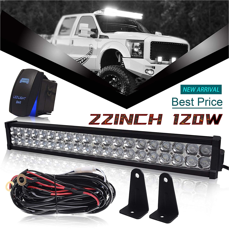 amazon com dot 22 24inch 120w led light bar combo grill windshield bumper light bar 1x rocker switch 1x wiring harness for truck jeep wrangler dodge