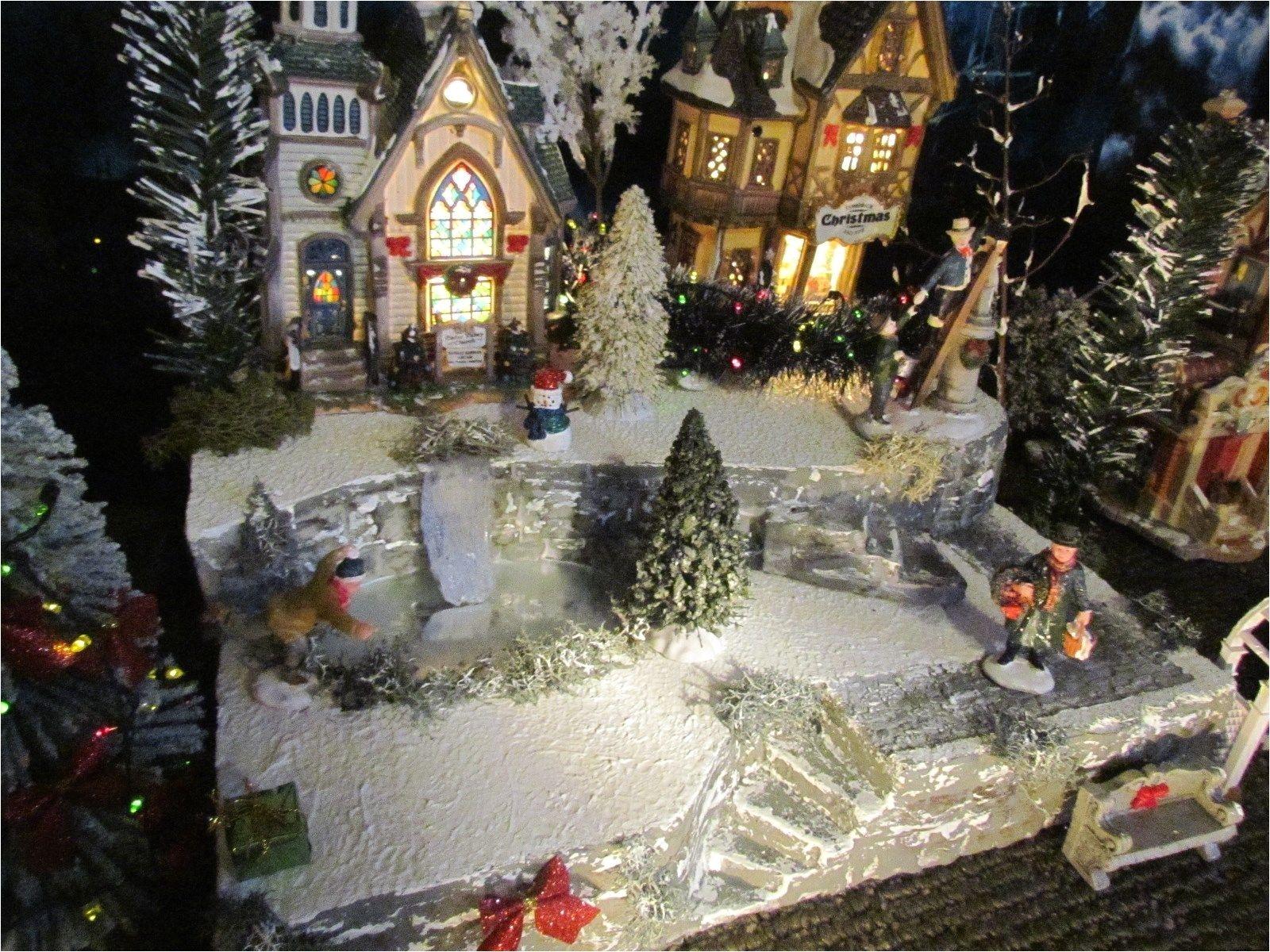 christmas waterfall frozen pond village display platform base dept 56 north pole for sale villagedisplays com