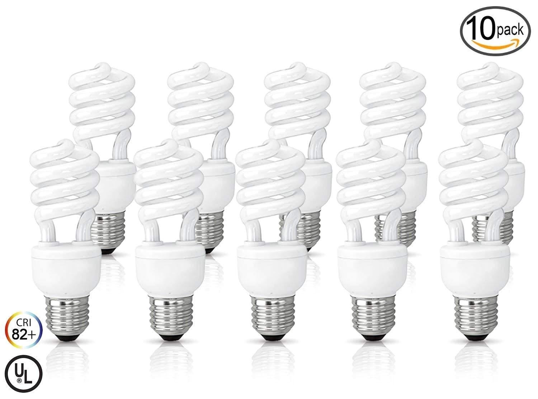 10 pack circle 13 watt 60 watt compact fluorescent light soft white 3000k mini spiral medium base cfl light bulbs amazon com
