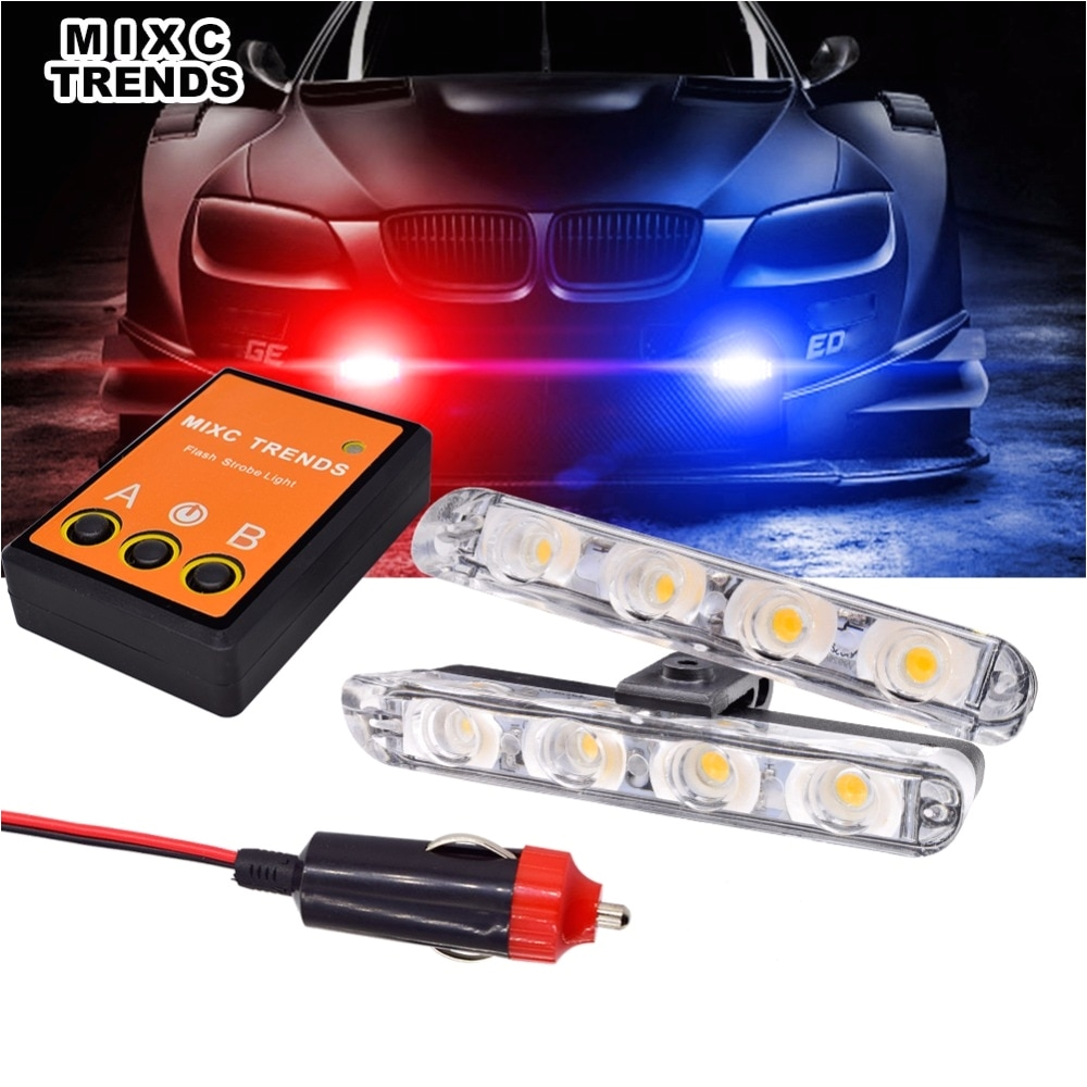 2x4 led mini motorcycle police light for car flash emergency hazard warning strobe light bar amber red blue car grill led lights in signal lamp from