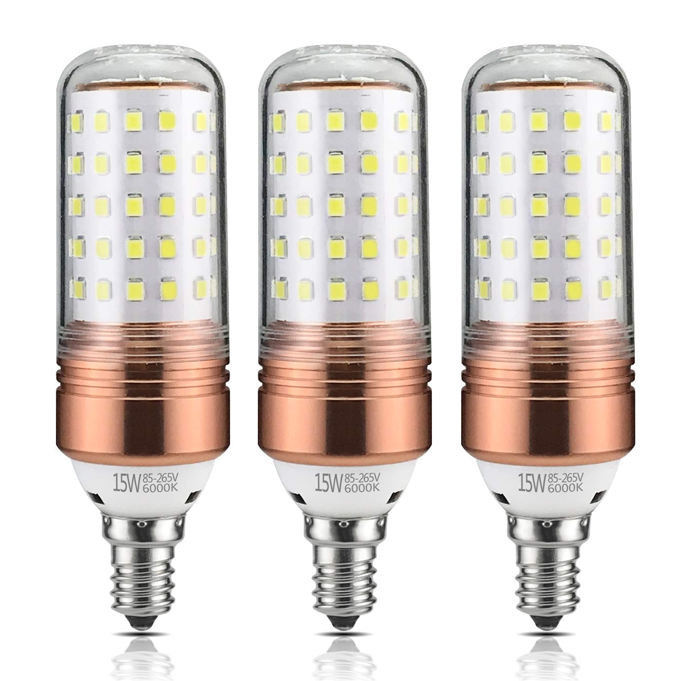 yiizon 15w led candle bulbs 6000k daylight white 1200lm e12 base 120w incandescent equivalent non dimmable candelabra led light bulbs pack of 3