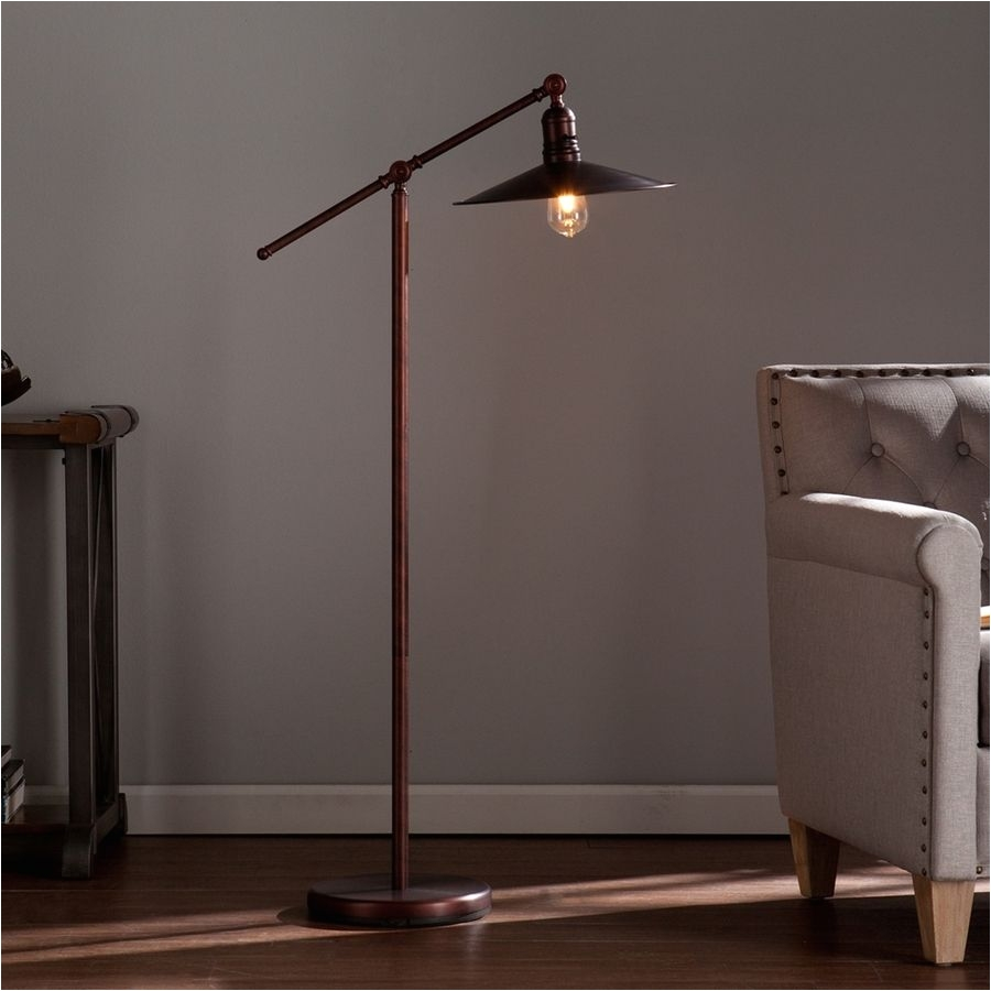 boston loft furnishings attina coppery brushed bronze downbridge indoor floor lamp with metal shade