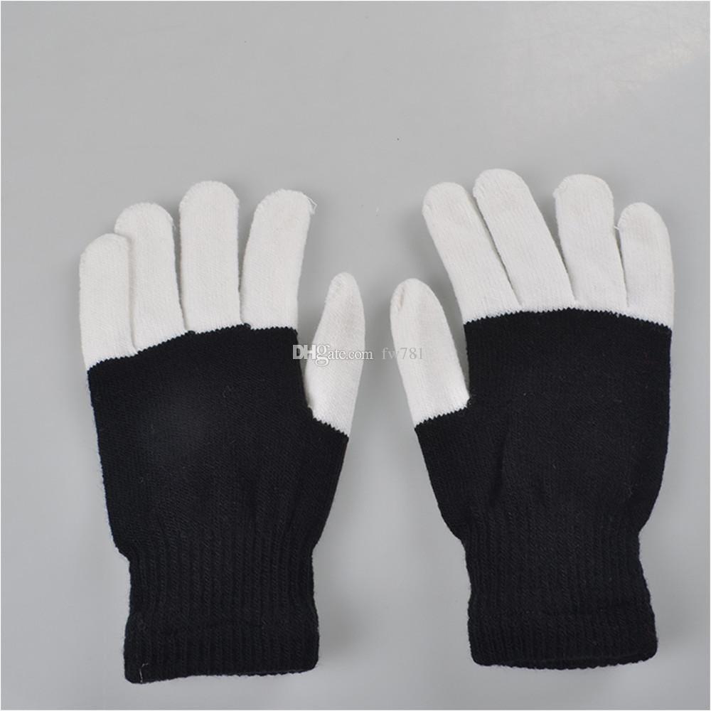 led gloves flashing light men women nylon led rave light fingertip glow mitt night club party