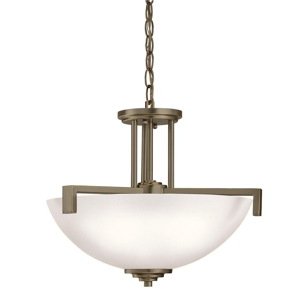 kichler lighting eileen collection 3 light olde bronze led inverted pendant semi flush mount glass