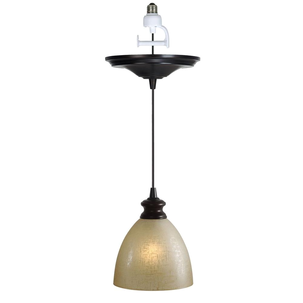 worth home products instant pendant series 1 light brushed bronze recessed light conversion kit