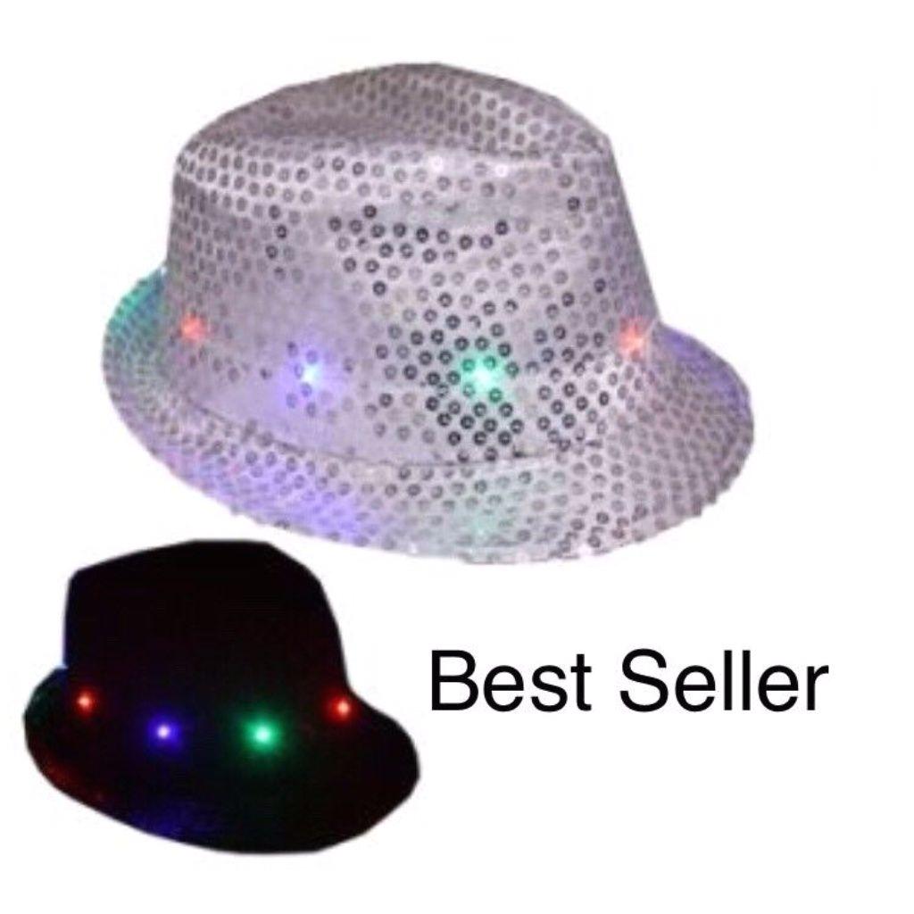 christmas hat led fedora hat light up white party
