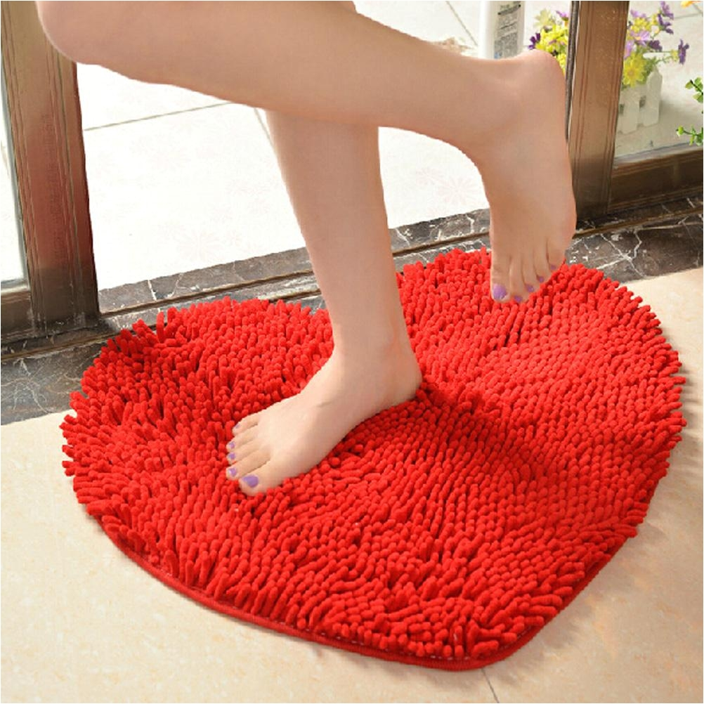 5060cm cute love heart shaped non slip soft microfiber chenille fluffy bathroom bedroom floor rug carpet mat red microfiber bathroom mat chenille carpet