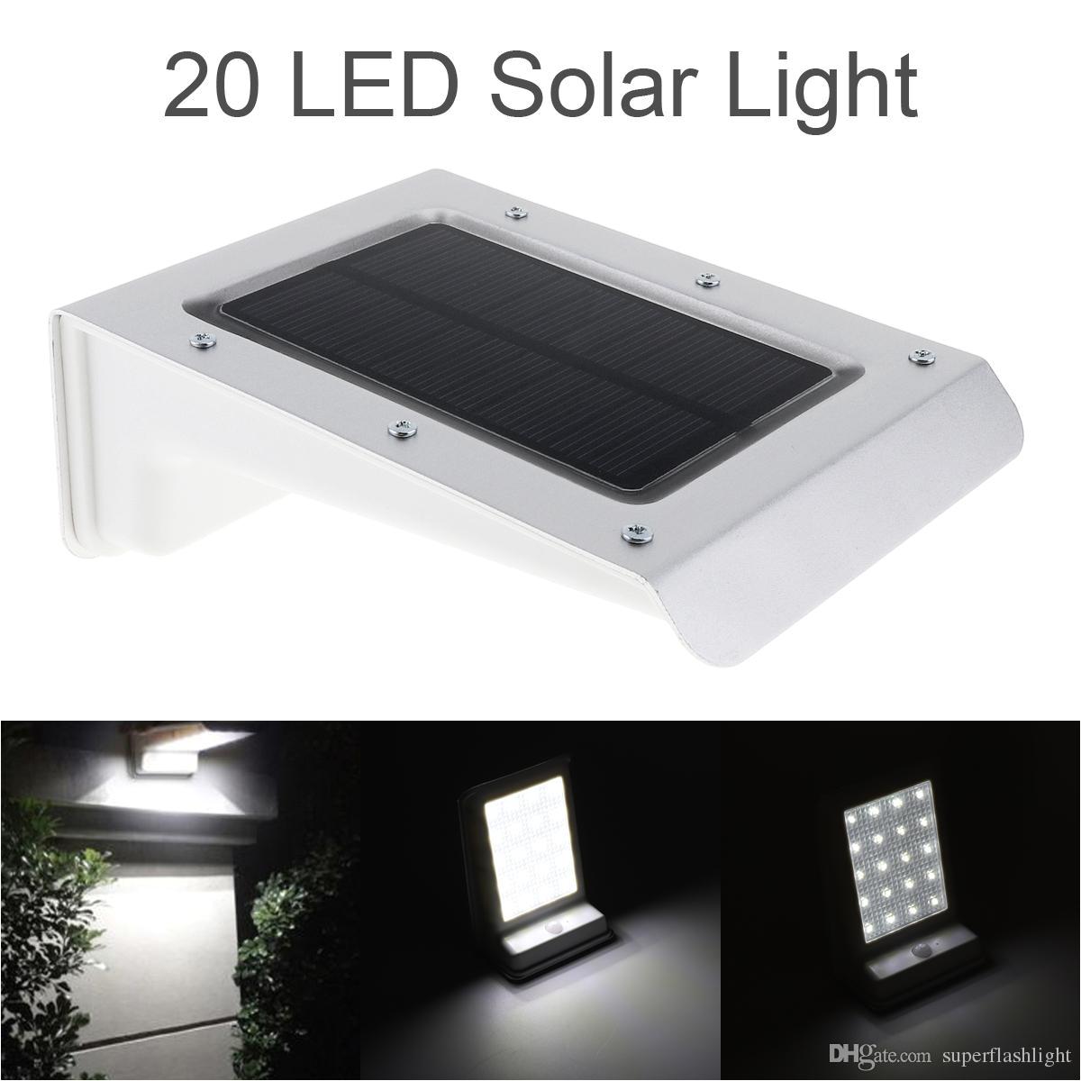 2018 aluminum waterproof 20 led solar power outdoor security light lamp pir motion sensor garden yard light leg 20z from superflashlight 11 06 dhgate