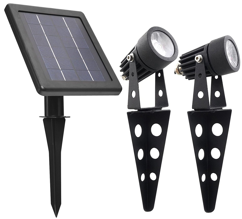 mini 50x twin solar powered cast aluminium warm white led spotlight 60 100 lumen per light fixture for outdoor garden yard landscape downlight amazon