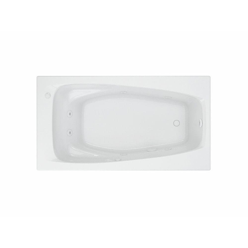 acrylic rectangular drop in whirlpool bathtub in white