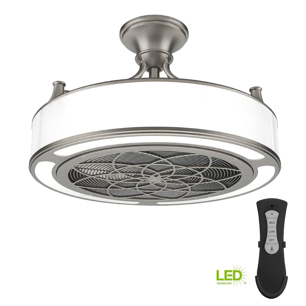 stile anderson 22 in led indoor outdoor brushed nickel ceiling fan with remote control