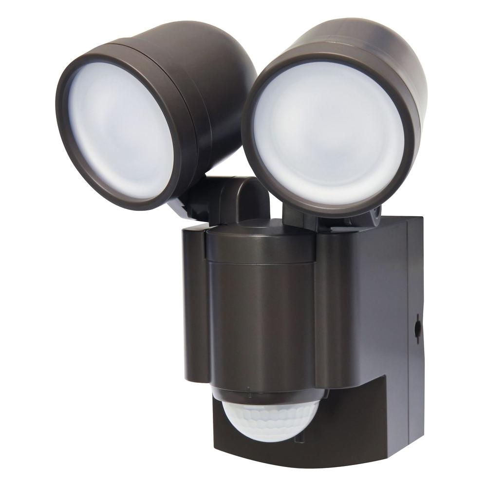 bronze motion activated outdoor integrated led twin flood light