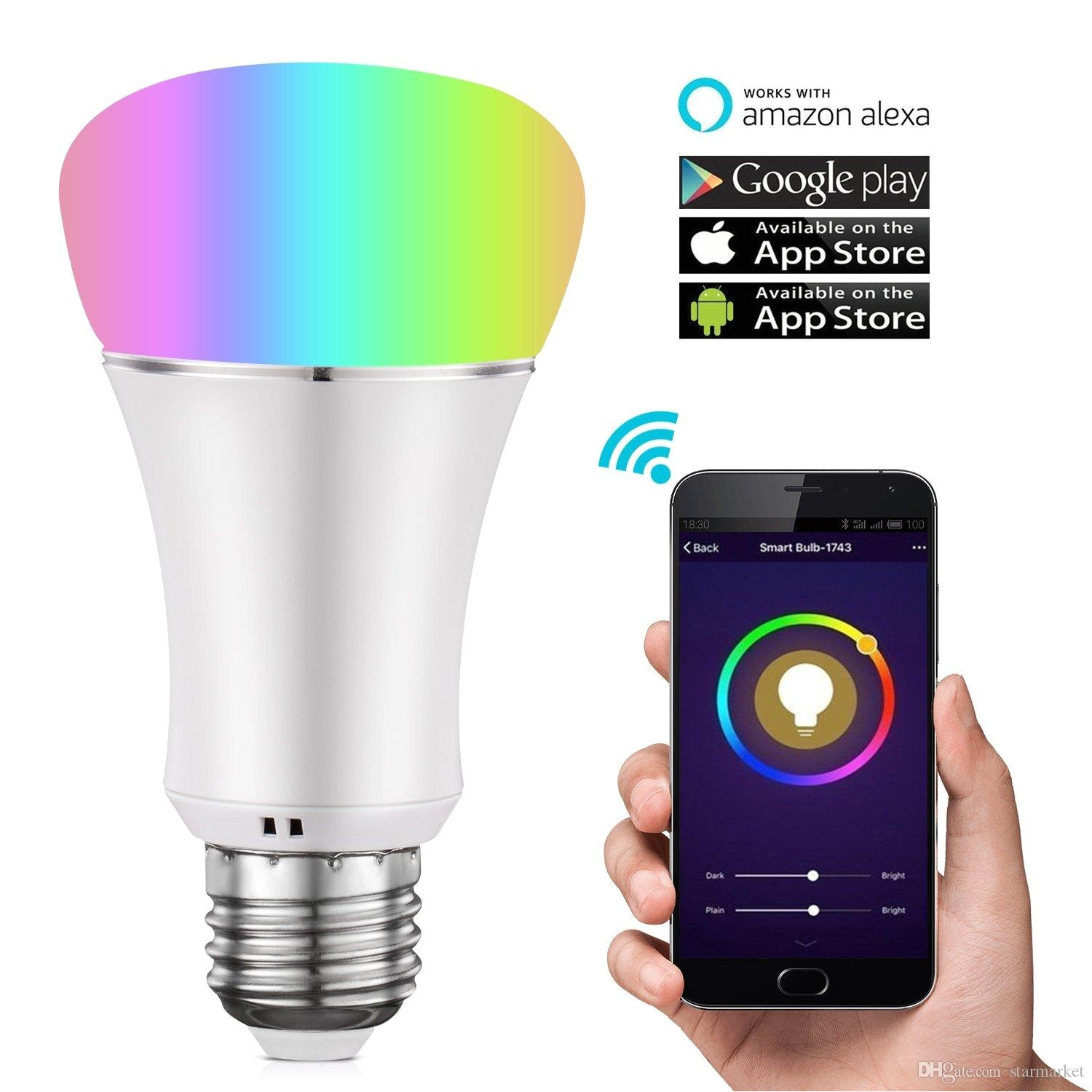 wifi smart light bulb multicolor dimmable led lampwake up lights no hub required magic light compatible with alexa and google assistant best led light