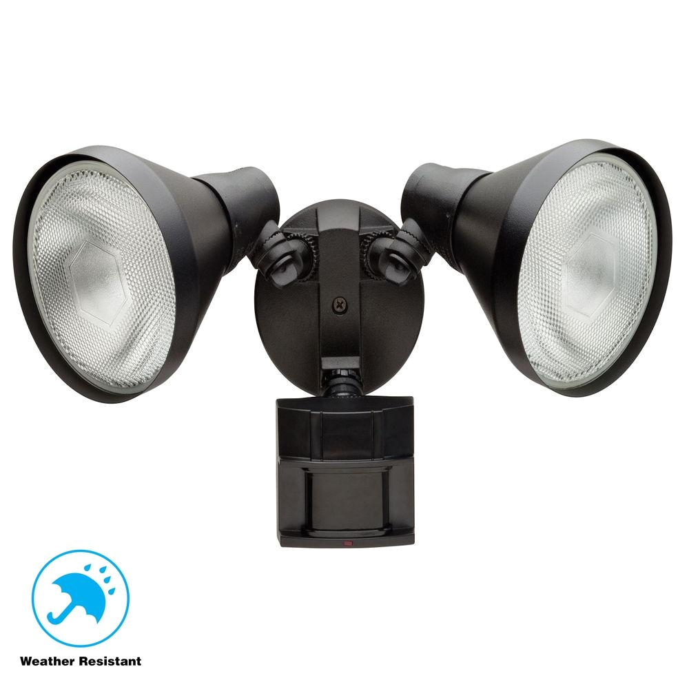 defiant 180 degree black motion sensing outdoor security light