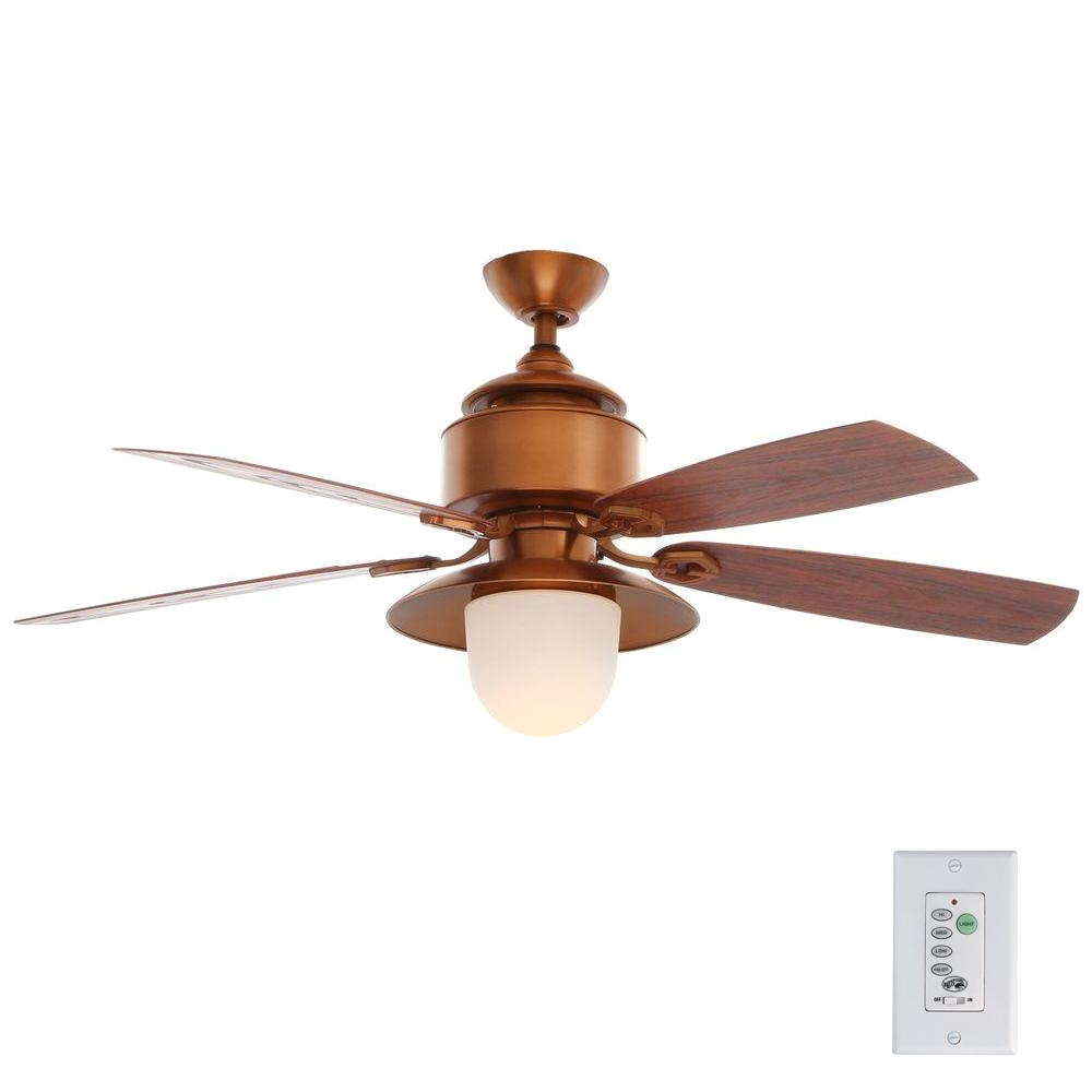 indoor outdoor weathered copper ceiling fan with light kit