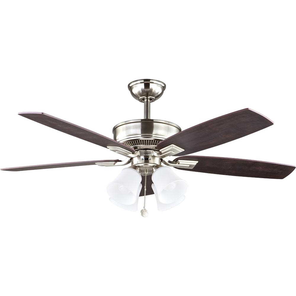 led indoor brushed nickel ceiling fan with light kit 57233 the home depot