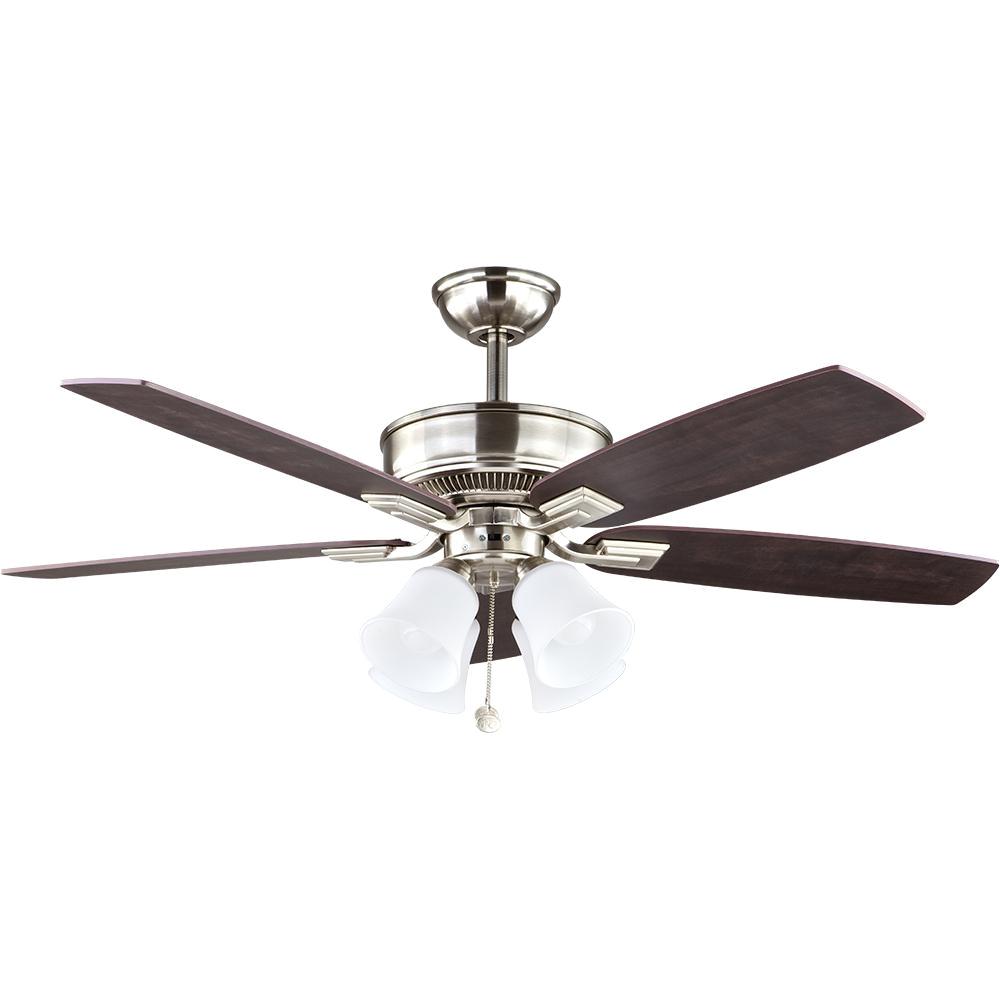 Hunter Fan Light Cover Hampton Bay Devron 52 In Led Indoor Brushed