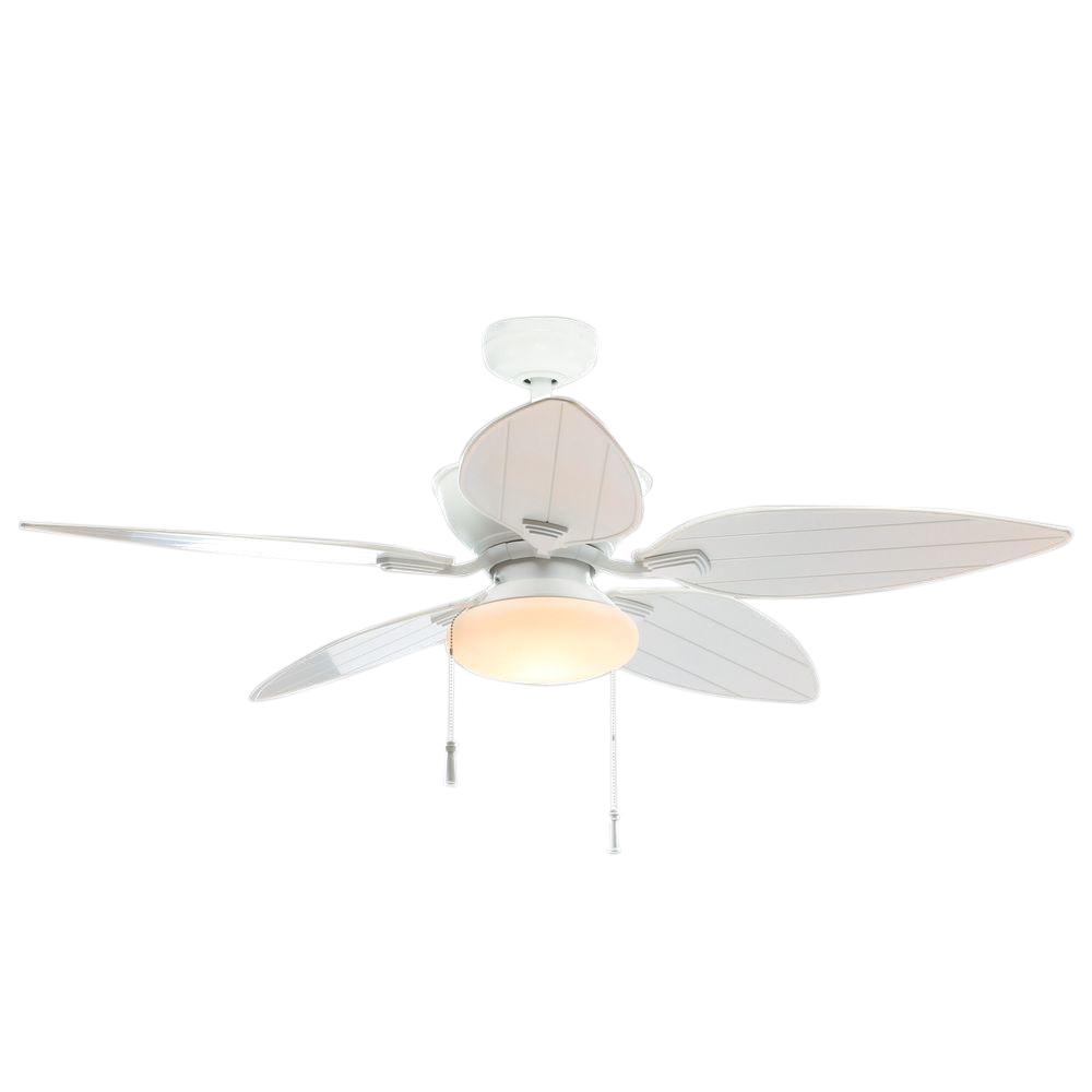 indoor outdoor matte white ceiling fan with light