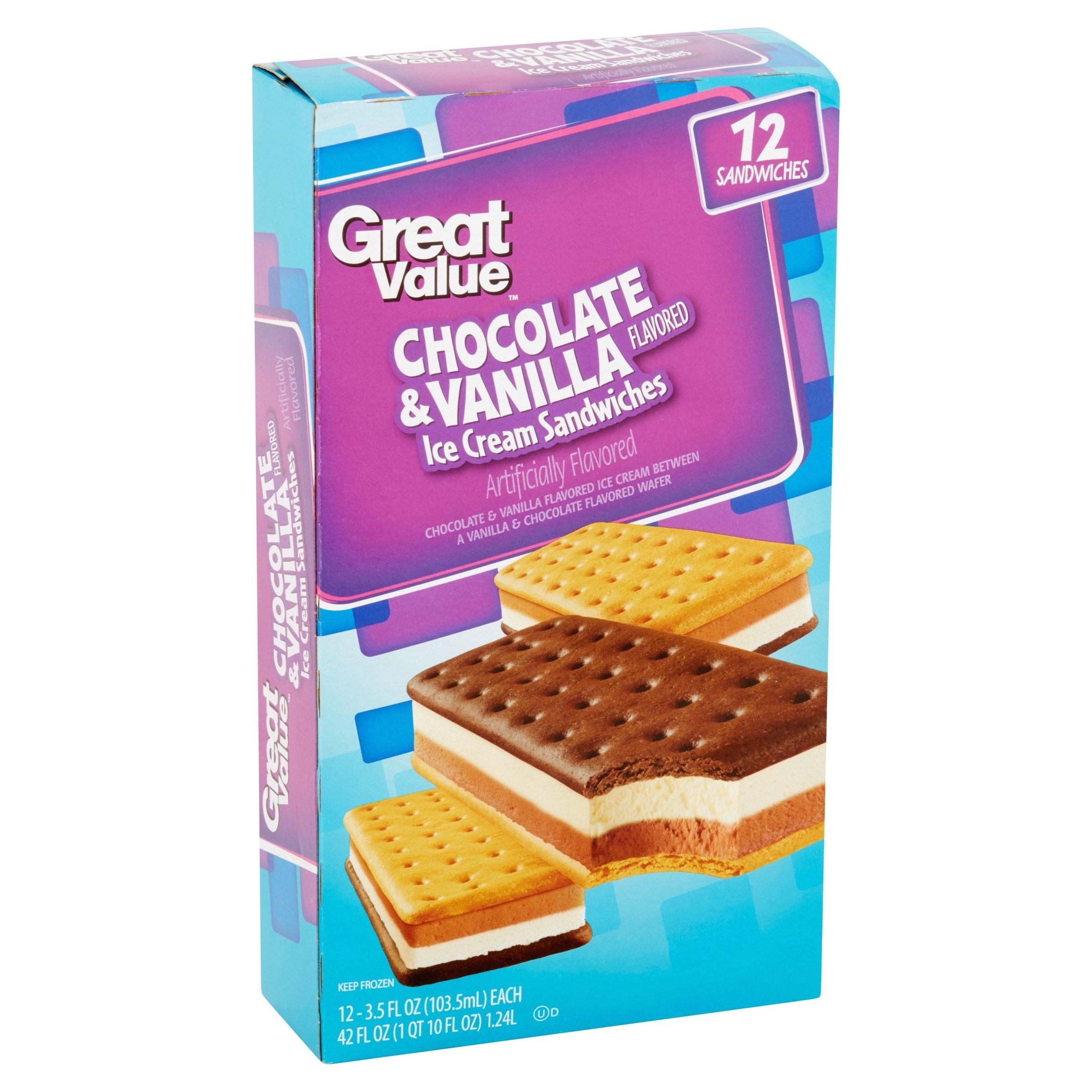 great value chocolate vanilla ice cream sandwiches 42 oz 12 count walmart com