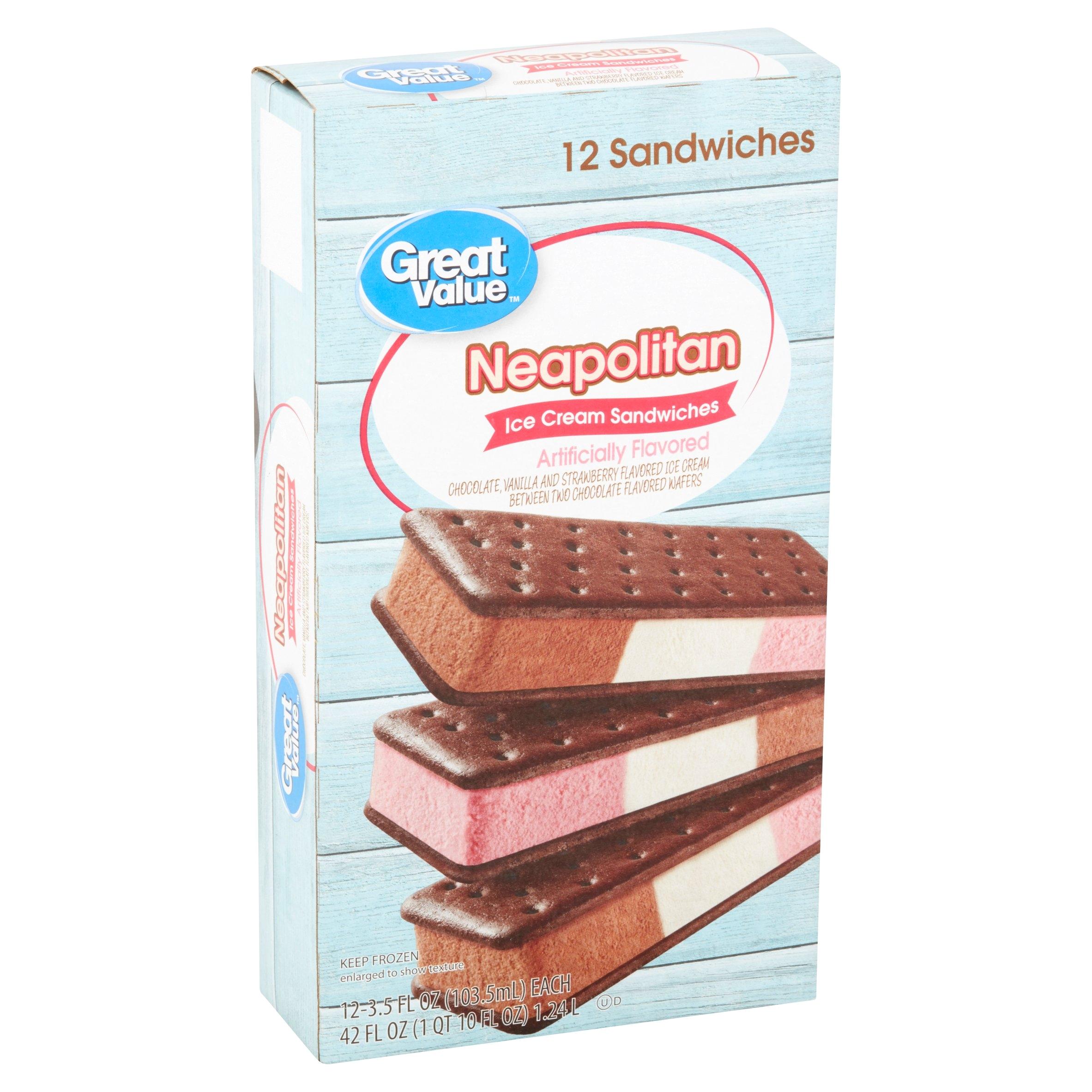 great value neapolitan ice cream sandwiches 42 oz 12 count walmart com